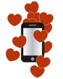 Förälskelse hör och smartphonediagrammet Royaltyfri Bild
