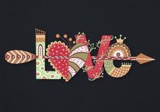Förälskelse Hand dragen bokstäver lycklig s valentin för dag Hjärta med pilen Frihandsstil klotter Ferie i Februari stock illustrationer