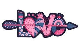 Förälskelse Hand dragen bokstäver lycklig s valentin för dag Hjärta med pilen Frihandsstil klotter Ferie i Februari vektor illustrationer