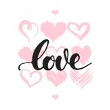 Förälskelse - hand dragit bokstäveruttryck som isoleras på den vita bakgrunden med hjärtor Rolig borstefärgpulverinskrift för val royaltyfri illustrationer