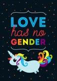 Förälskelse har ingen genus LGBT-typografiaffischen med den gulliga illustrationen av enhörningen med regnbågen färgade svansen o royaltyfri illustrationer