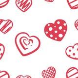 Förälskelse hjärta, klottrar patern - räcka attraktion vektor illustrationer
