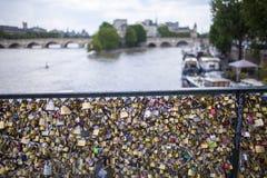 Förälskelse låser Seine River Paris Frankrike Royaltyfri Bild