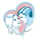 Förälskelse, man och kvinna med hjärta Royaltyfria Foton