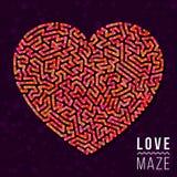 Förälskelse Maze Heart Shape Vector Element Royaltyfria Foton