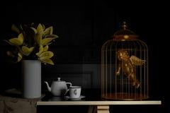 Förälskelse och begrepp guld- kupidon i fågelbur red steg beträffande 3d Royaltyfria Bilder