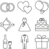 Förälskelse- och bröllopsymbolsuppsättning Arkivfoto
