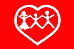 Förälskelse- och familjbegrepp Röd bakgrund Royaltyfri Foto