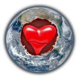 Förälskelse- och fredjordhjärta Arkivbild