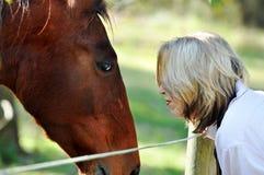 Förälskelse och omsorg mellan damen och husdjurhästen royaltyfri fotografi