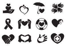 Förälskelse- och omsorgsymboler vektor illustrationer