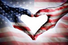 Förälskelse och patriotism - USA-flagga Arkivfoto