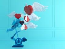 Förälskelse- och teknologibegrepp Kupidonet röd hjärta och ilar telefonen red steg framförande 3d illustration 3d Minsta stil Arkivfoton