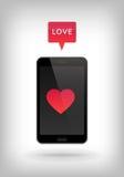 Förälskelse på telefonen Arkivfoton