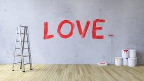 Förälskelse på väggen Arkivbild