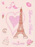 förälskelse paris stock illustrationer