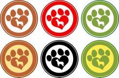 Förälskelse Paw Print Circle Banners Isolerat på white Royaltyfri Bild