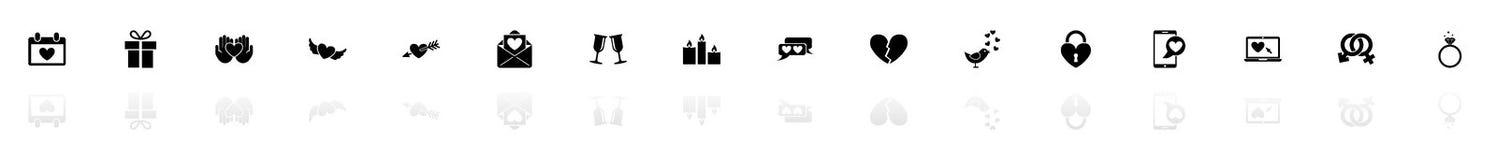 Förälskelse - plana vektorsymboler stock illustrationer
