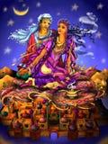 Förälskelse roman Par Saga av Aladdin Arabisk saga Tusen och en på nätterna Arkivbilder