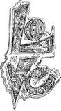 FÖRÄLSKELSE skissade klotter Arkivbild