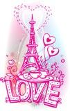 Förälskelse som är sketchy med Eiffel, står hög stock illustrationer