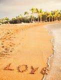 Förälskelse som dras på stranden Royaltyfri Fotografi