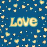Förälskelse som märker mot bakgrund med hjärtor stock illustrationer