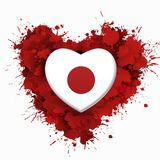 Förälskelse till Japan över röd hjärta