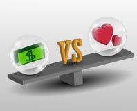 Förälskelse vs pengar Royaltyfri Fotografi