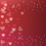 Förälskelsebakgrund med bokehhjärta stock illustrationer