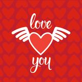 Förälskelsebakgrund med röda den drog hjärtor och handen märka tappninginbjudan- eller hälsningkortet för valentindag Royaltyfri Fotografi