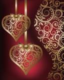 Förälskelsebaner med guld- hjärtor stock illustrationer
