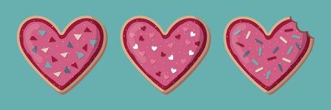 Förälskelsebaner med hjärtaformkakor valentin vektor illustrationer