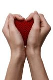 Förälskelsebegrepp. innehav som en röd hjärta räcker in Arkivbild