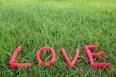 Förälskelsebokstäver över gräset Arkivfoton
