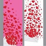 Förälskelsebokstav med banret för hjärtor Valentines.Vertical Stock Illustrationer