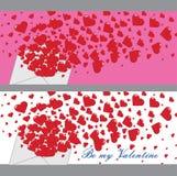 Förälskelsebokstav med hjärtor Valentines.Banners.Vector Stock Illustrationer