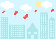 Förälskelsecityscape med den romantiska illustrationen för hjärtaballongtecknad film Royaltyfria Bilder