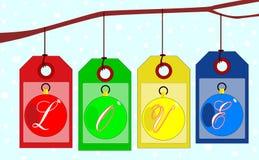 Förälskelseetiketter som hänger från trädfilial vektor illustrationer
