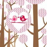 Förälskelsefågel Valentine Card Royaltyfria Bilder