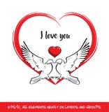 Förälskelsefåglar älskar jag dig röd hjärta vektor illustrationer
