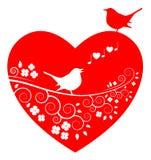 Förälskelsefåglar och en tree royaltyfri illustrationer