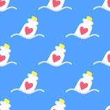 Förälskelseflaska med hjärtor inom sömlös modell blå red papper för förälskelse för bakgrundskortgrunge Vektor Illustrationer