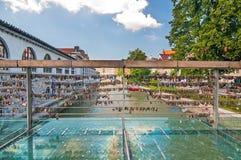 Förälskelsehänglås på slaktares bro, Ljubljana, Slovenien Fotografering för Bildbyråer