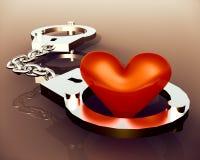 Förälskelsehjärta i handbojor Royaltyfri Foto