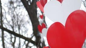 Förälskelsehjärta sväller på himmelbakgrund Pappers- röd hjärtagarnering i hösten parkerar det celabrating begreppet förbunde lyc lager videofilmer