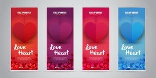 Förälskelsehjärtaaffären rullar upp banret med 4 röda variant- färger, purpurfärgat, rosa/magentafärgat, blått också vektor för c stock illustrationer