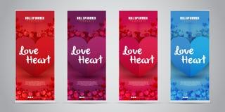 Förälskelsehjärtaaffären rullar upp banret med 4 röda variant- färger, purpurfärgat, rosa/magentafärgat, blått också vektor för c royaltyfri illustrationer