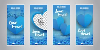 Förälskelsehjärtaaffären rullar upp banret med vektorillustrationen för 4 den variant- designer stock illustrationer