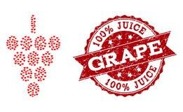 Förälskelsehjärtacollage av druvan Berry Icon och Grungeskyddsremsan royaltyfri illustrationer